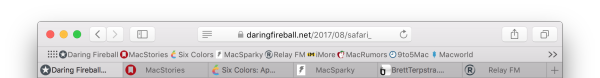 Screenshot of Safari for Mac with Tab and Bookmark Favicons