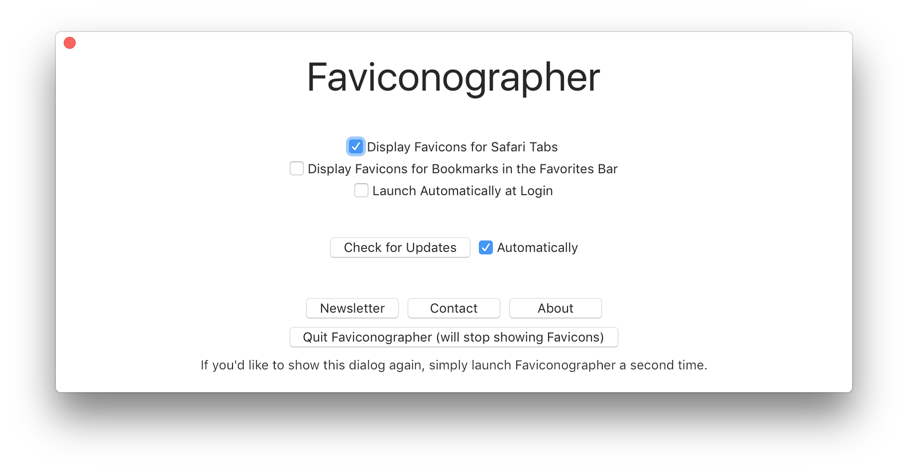 Screenshot of the Faviconographer Preferences screen